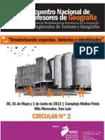 Circular N° 2 - XXII ENCUENTRO NACIONAL DE PROFESORES DE GEOGRAFÍA