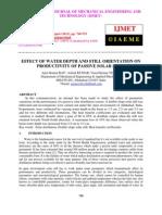 Effect of Water Depth and Still Orientation on Productivity of Passive Solar Still