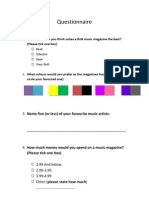 Questionnaire for My Magazine