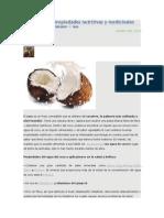 Agua de Coco Propiedades Nutritivas y Medicinales