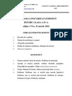 Programa Concursului Eminent 2012