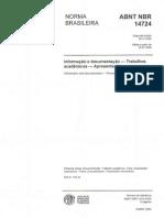ABNT NBR 14724 - Norma Brasileira - Informação e documentação - Trabalhos acadêmicos - Apresentação