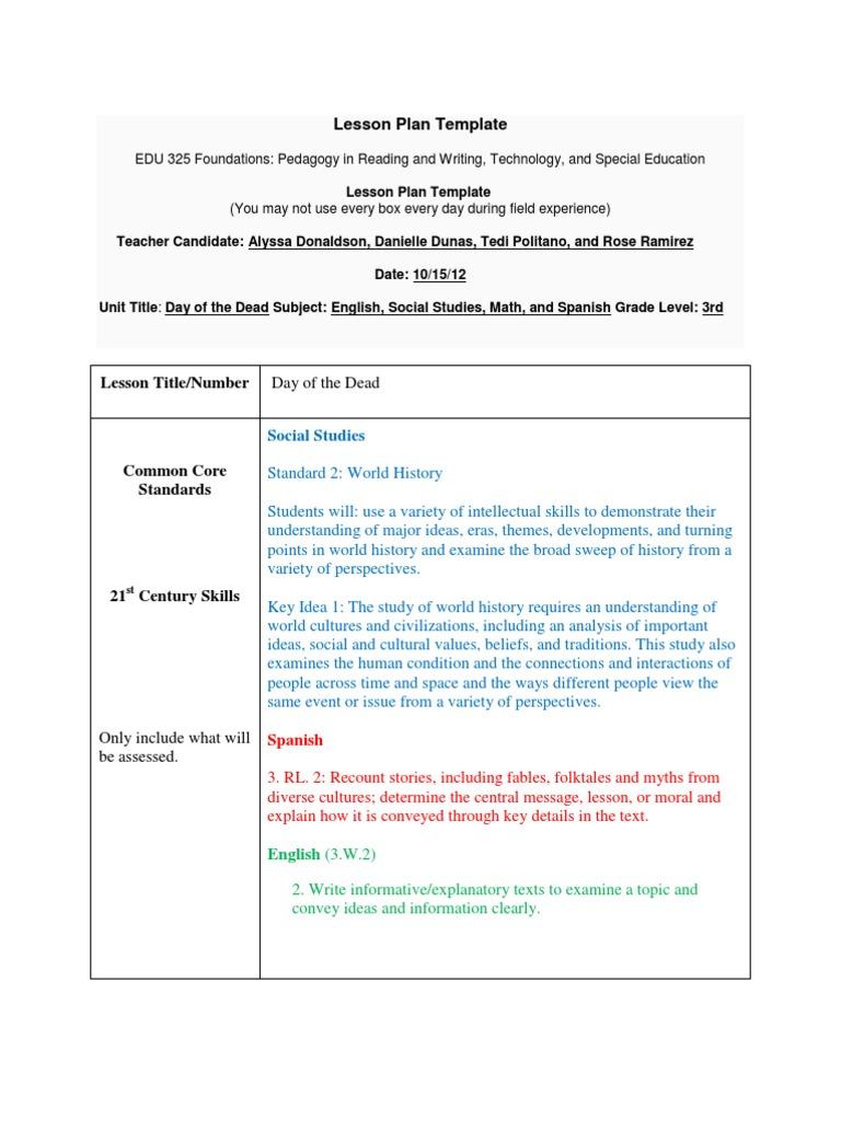 Lesson Plan Template: Social Studies