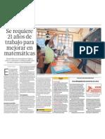 21 años para mejorar matematica escuelas Peru