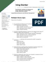 Organizational Behavior|Multiple Choice Quiz