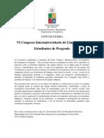Convocatoria Sexto Congreso Interuniversitario de de Lingüística de Estudiantes de Pregrado