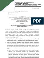 Edaran - Naker - Surat Edaran Dirjen Phi Dan Jamsostek Menakertrans No b.31 Phijsk i 2012