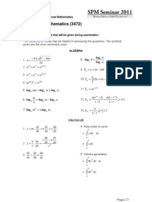 Spm Addmath Formula List Given Triangle Geometry Elementary Geometry