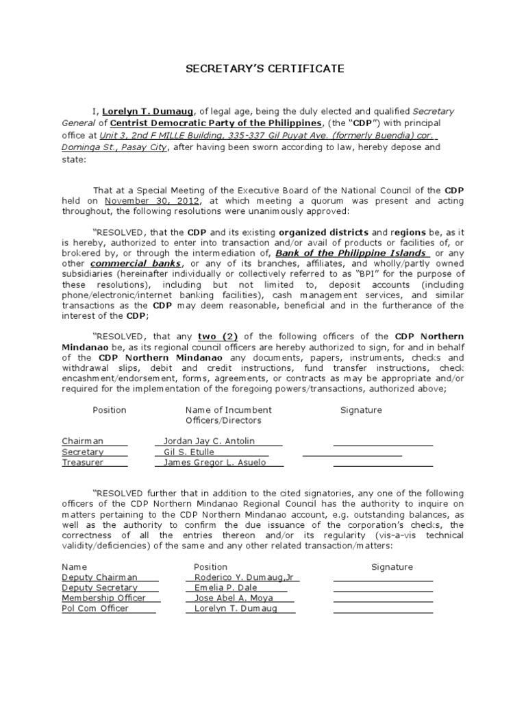 Board Resolution Or Corporate Secretaryu0027s Certificate With Representatives  | Cheque | Board Of Directors