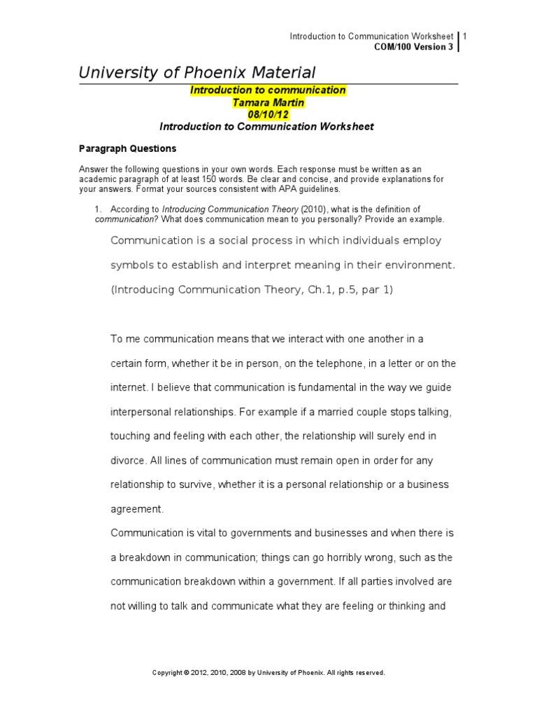communication introduction worksheet