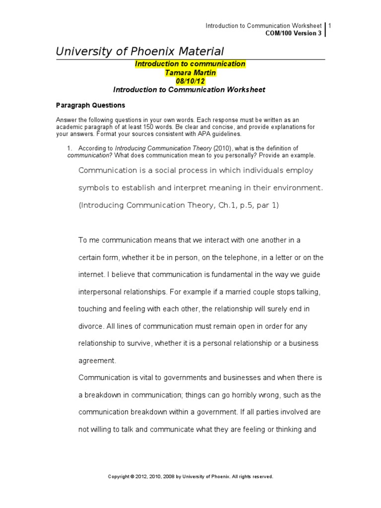 Com100 r3 Introduction to Communication Worksheet | Action .