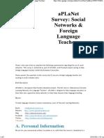 19_B_aPLaNet Survey_ Social NetworksForeign Language Teachers