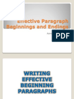 Effective Paragraph Beginnings and Endings