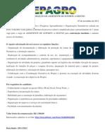 Edital seleção assistente suporte a gestão - Novembro 2012