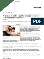 Publicidade online ganha espaço entre os consumidores brasileiros_Ibope 2012