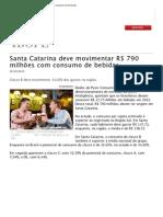 Santa Catarina deve movimentar R$ 790 milhões com consumo de bebidas