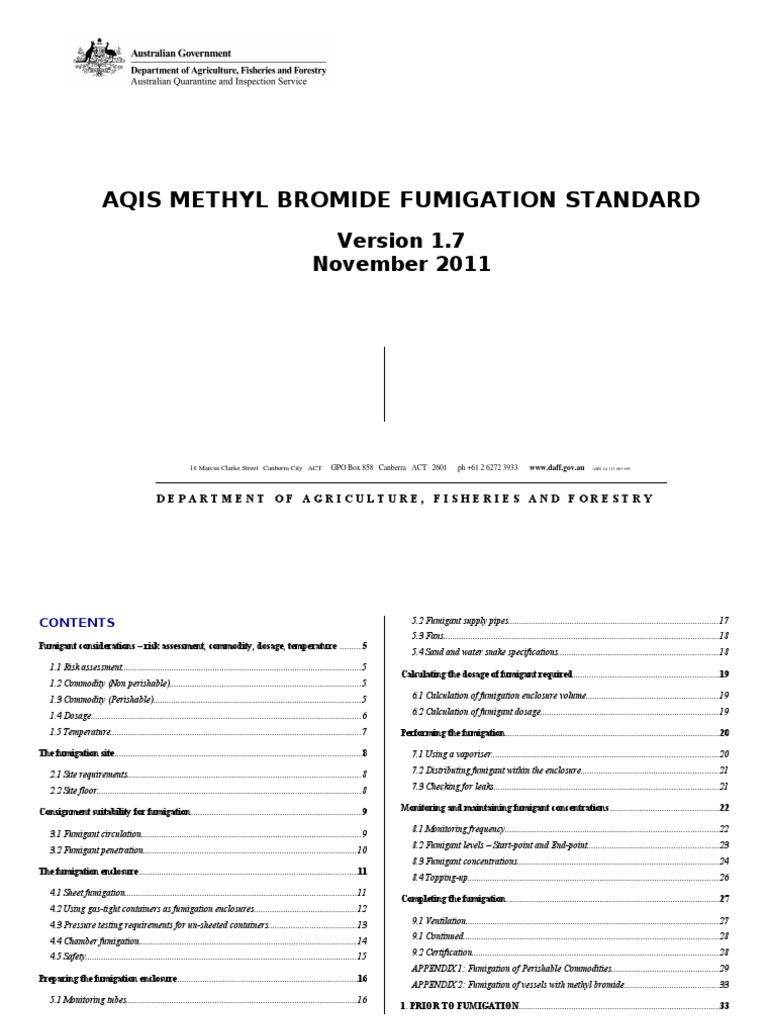 AQIS Methyl Bromide Fumigation Standard   Hvac   Ventilation (Architecture)