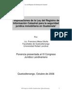 Ley Del Registro de Informacion Catastral