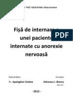 Fișă de internare a unei paciente internate cu anorexie nervoasă