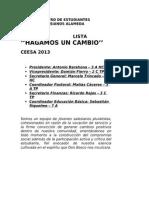 Compendio Propuestas Lista Hagamos Un Cambio CEESA 2013