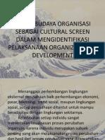 Peran Budaya Organisasi Sebagai Cultural Screen Dalam Mengidentifikasi Pelaksanaan Organizational Development