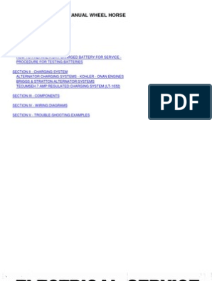 WheelHorse Engine Electrical Service Manual | Battery ... on