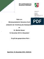 Ansprache von Ministerpräsidentin Hannelore Kraft zur Staatspreisverleihung 2012