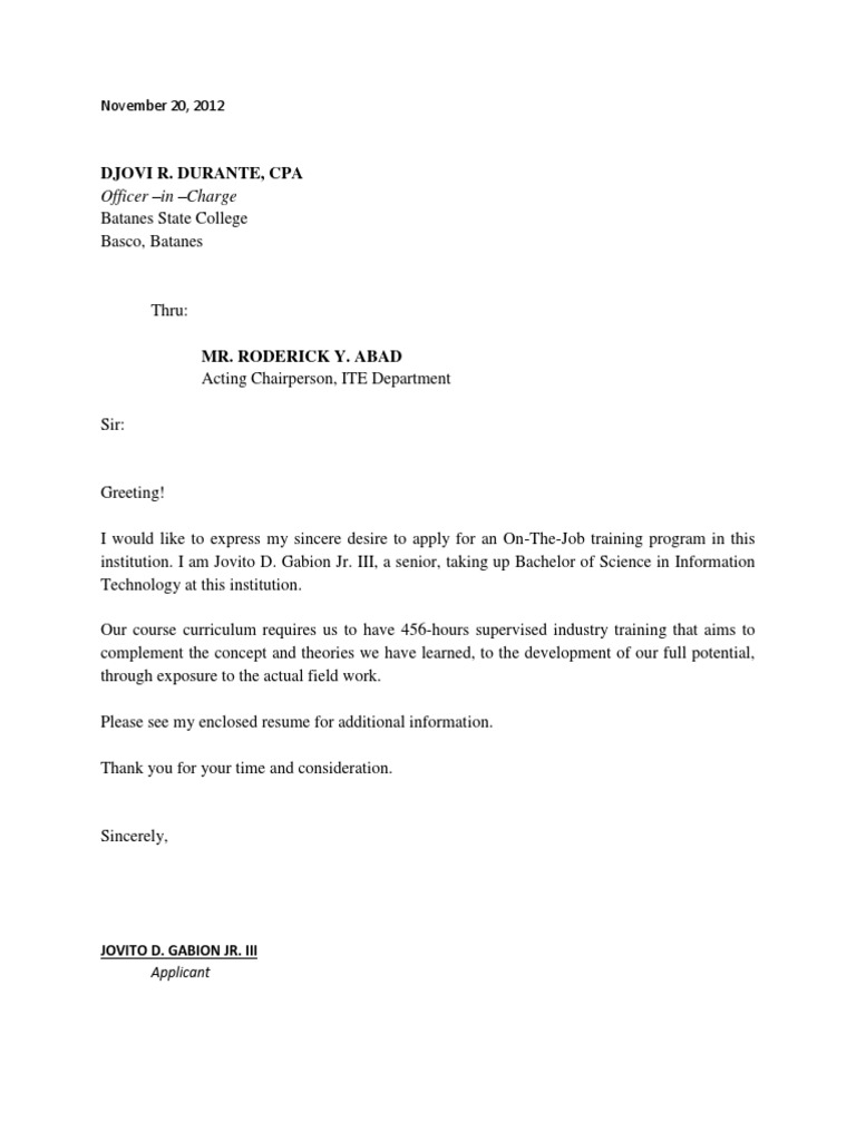 Letter for ojt students application letter for ojt students expocarfo