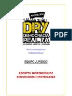 Asociación DRY - Escrito de suspensión de ejecuciones hipotecarias