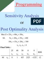 LP - V Lecture (Sensitivity Analysis)