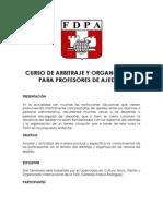 CURSO DE ARBITRAJE Y ORGANIZACIÓN PARA PROFESORES DE AJEDREZ