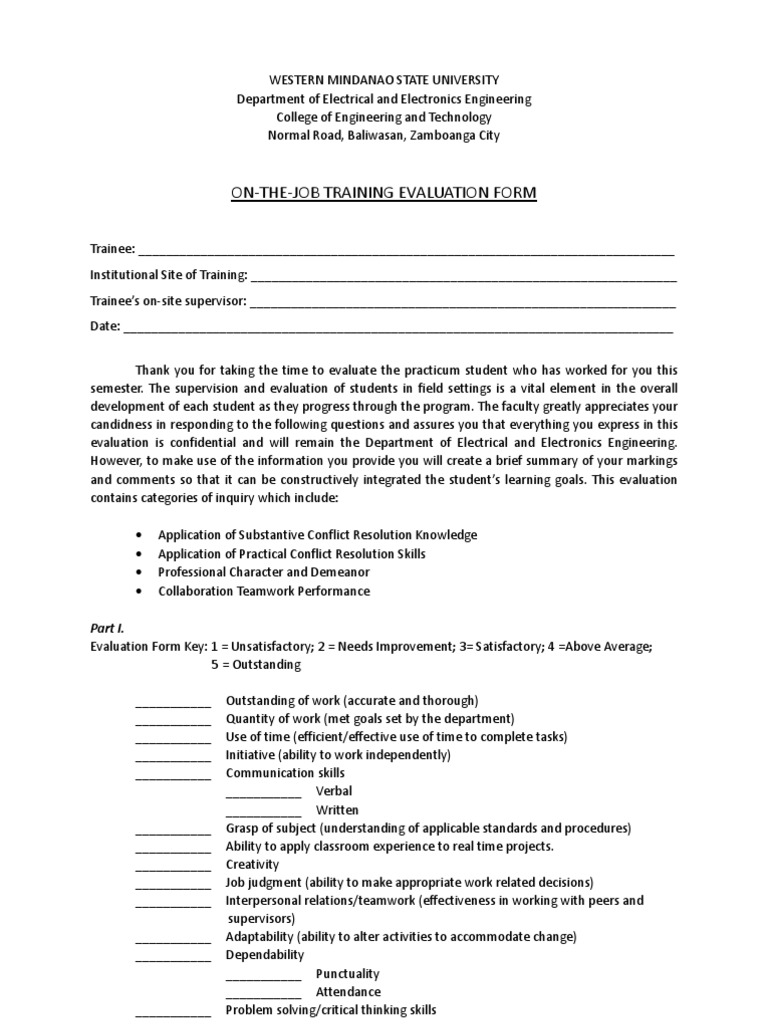 OJT Evaluation Form for Supervisor   Evaluation   Thought