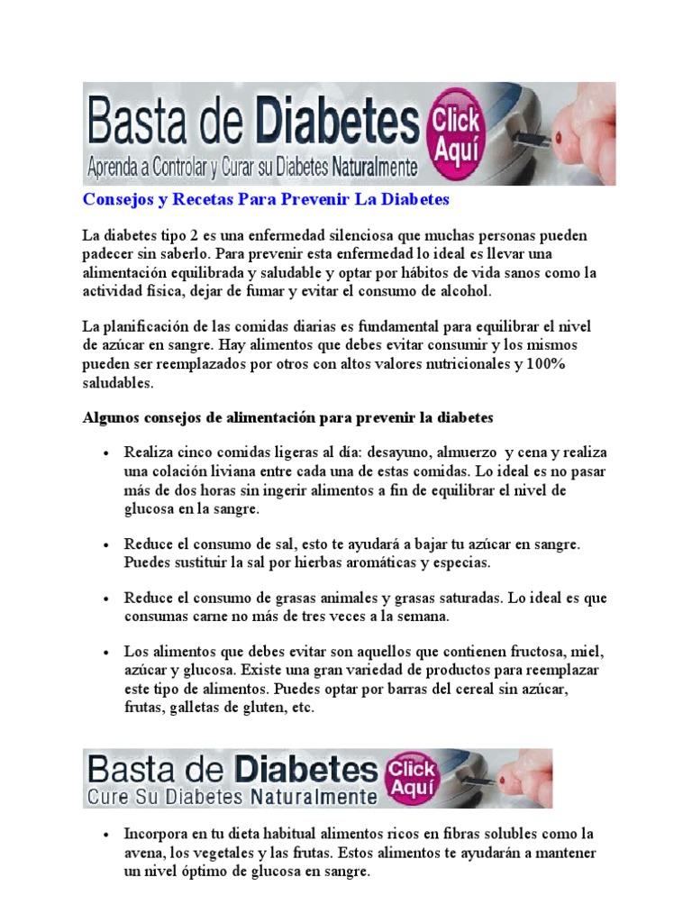 alimentos saludables para prevenir la diabetes