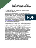 Protocolo de educación para niños que padecen del síndrome Cornelia de Lange