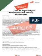 Puntos Clave en Seguridad Para Periodistas en La Cobertura de Elecciones