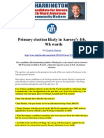 Daily Herald Newspaper Article 2013 Primary Election Likely in Aurora's  4th and 9th Wards