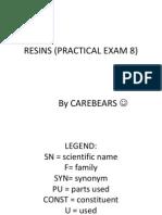 Resins (Practical Exam 8)