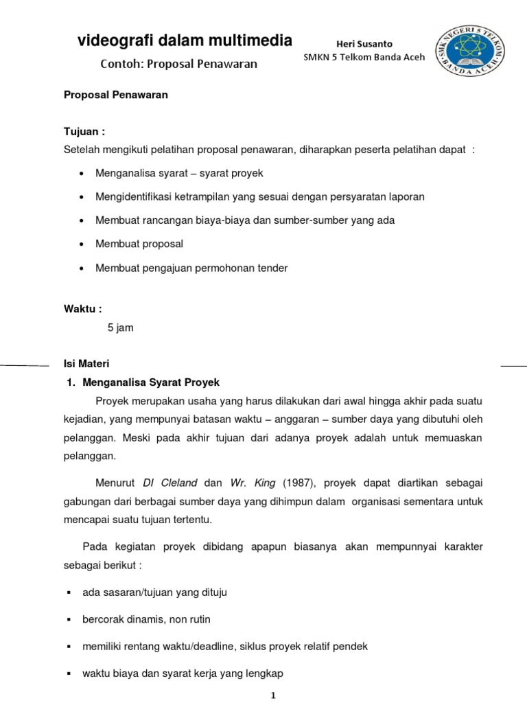 Contoh Proposal Penawaran