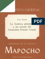 La America Ahistorica y Sin Mundo Del Humanista Ernesto Grassi