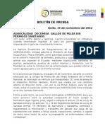 Boletin de Prensa Decomiso de Gallos de Pelea