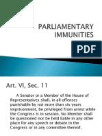 Parliamentary Immunities