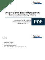 The Ponemon Institute on Data Loss / Breach Solutions