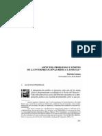 ASPECTOS, PROBLEMAS Y LÍMITES  DE LA INTERPRETACION JURIDICA Y JUDICIAL