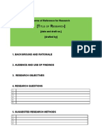 Terms of Reference for Research Template