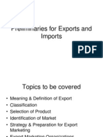 Prelimineries of Exports