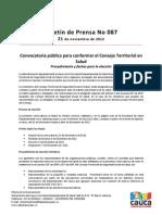 Boletín 088_ Convocatoria pública para conformar el Consejo Territorial en Salud