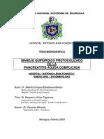 Manejo Protocolizado de La Pancreatitia Aguda