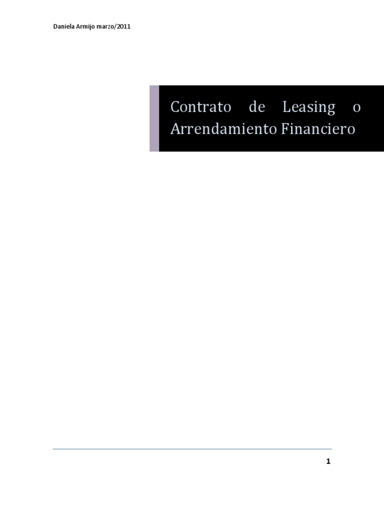 contrato de leasing o arrendamiento financiero. Black Bedroom Furniture Sets. Home Design Ideas