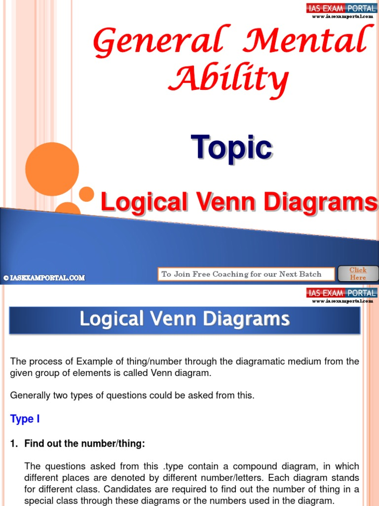 General Mental Ability Logical Venn Diagrams Psychology Logic Diagram Cognitive Science Cognition