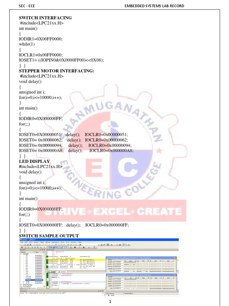 Embedded Systems Lab Manual Areas Of Computer Science Circuitdiagramtointerfacebuzzerwithlpc2148 Programming